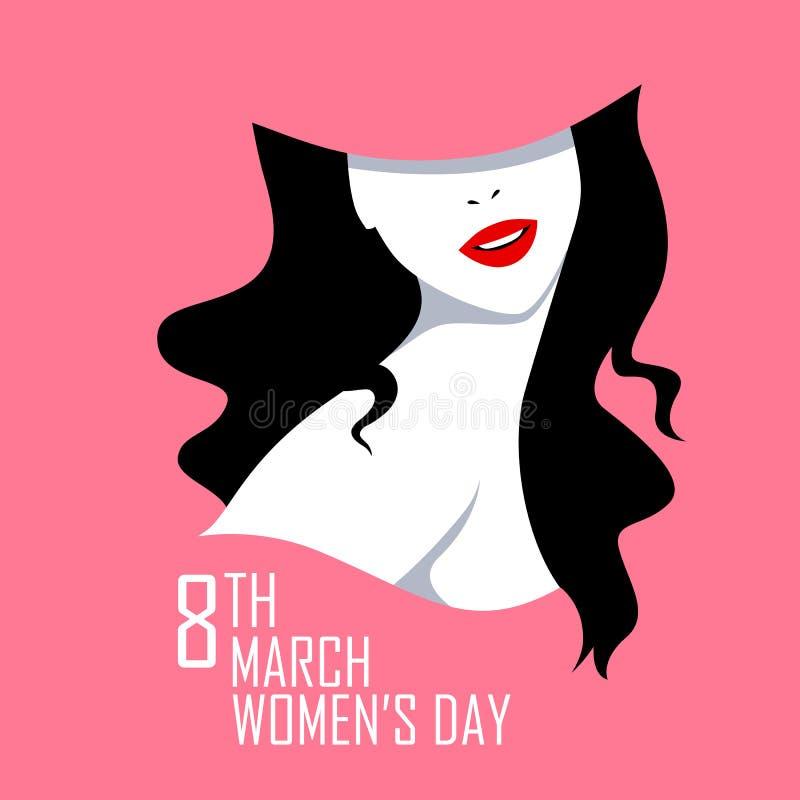 Lycklig internationella kvinnors bakgrund för hälsningar för dag8th mars stock illustrationer