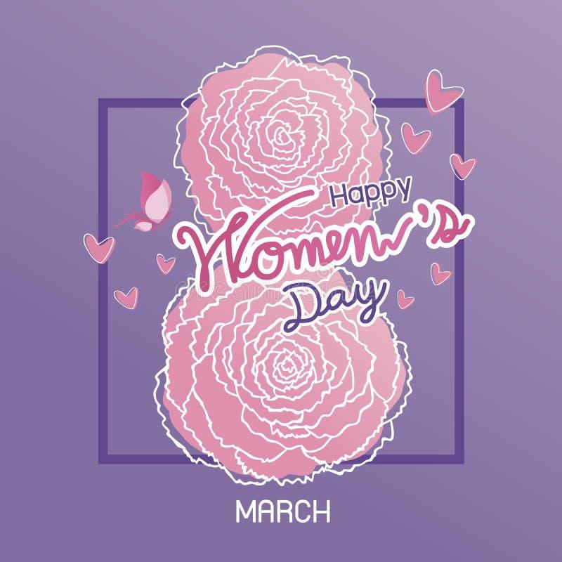 Lycklig 8 internationella kvinnors för marsch design för dag royaltyfri illustrationer