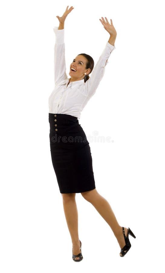 lycklig isolerad mycket kvinna för affär fotografering för bildbyråer