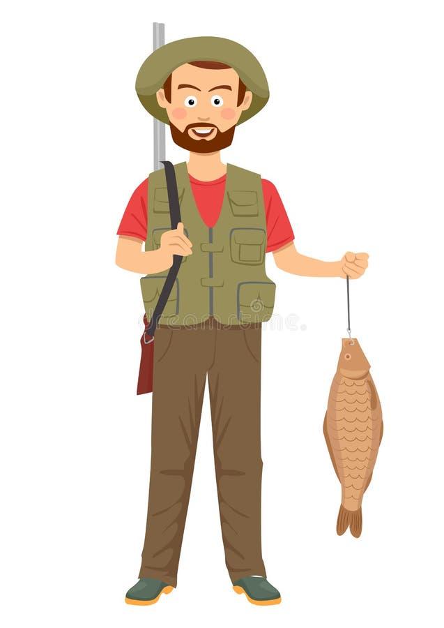 Lycklig jägare med hagelgeväret och fisken i hand stock illustrationer