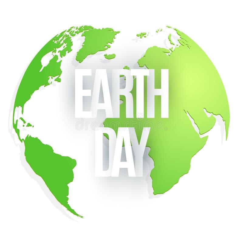 Lycklig jorddag 22 april Abstrakt grön planet på vit bakgrund Text från pappers- bokstäver Översikt av planetjorden ekologiskt royaltyfri illustrationer