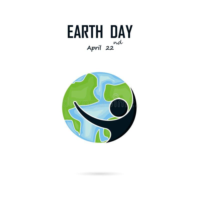 Lycklig jorddag April 22 med det gulliga teckenet för jordklot Kam för jorddag stock illustrationer