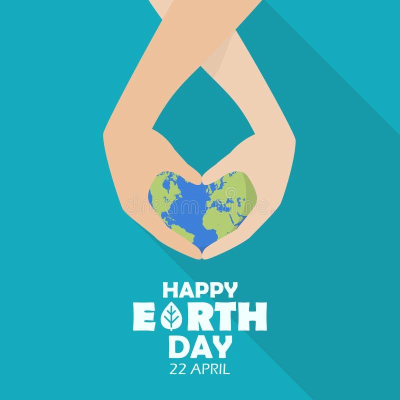 Lycklig jorddag med händer som rymmer jordjordklotet stock illustrationer