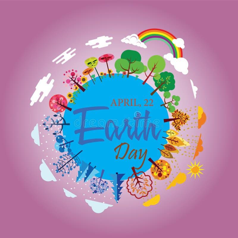 Lycklig jorddag med världen och trädet - vektor royaltyfri illustrationer