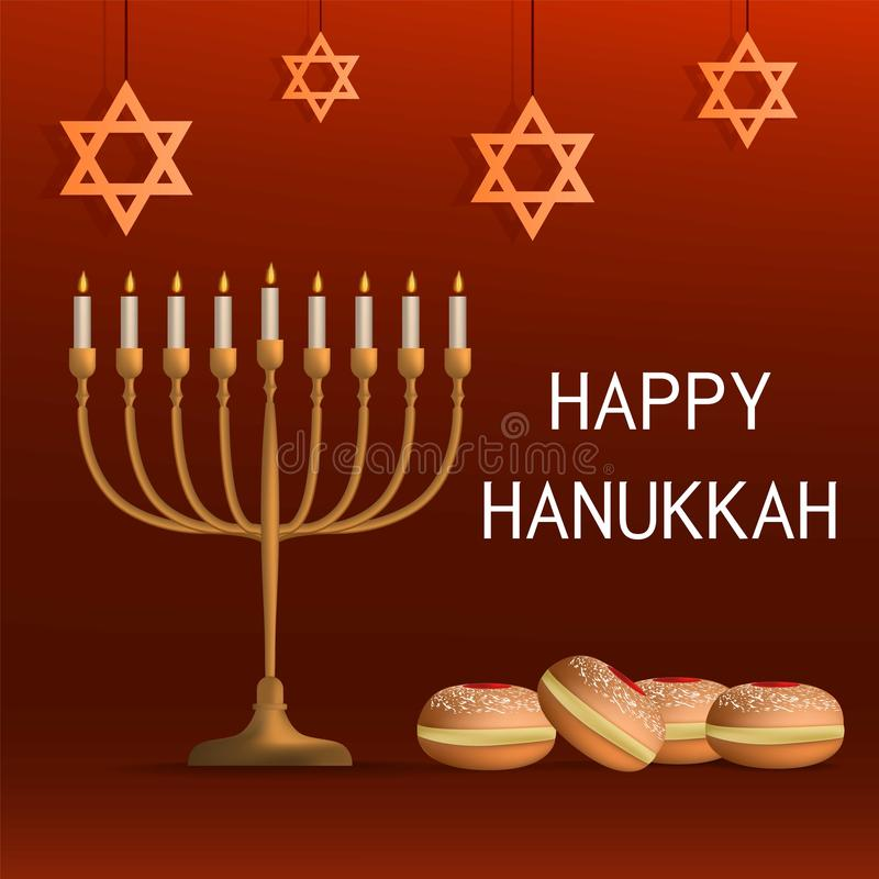 Lycklig judisk hanukkah begreppsbakgrund, realistisk stil royaltyfri illustrationer
