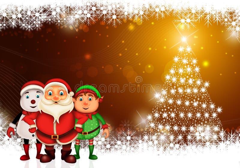 Lycklig jul för glad jul, santa med rendeer royaltyfria foton