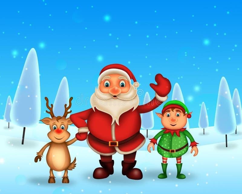 Lycklig jul för glad jul, santa med rendeer arkivfoton