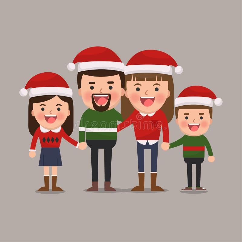 lycklig julfamilj vektor illustrationer