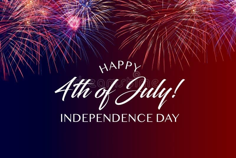 Lycklig Juli 4th hälsning med röd och blå bakgrund royaltyfri foto