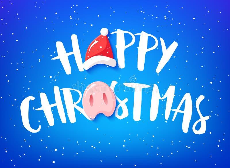 Lycklig julkort med text, svinnäsan och jultomtenhatten på blå bakgrund vektor royaltyfri illustrationer