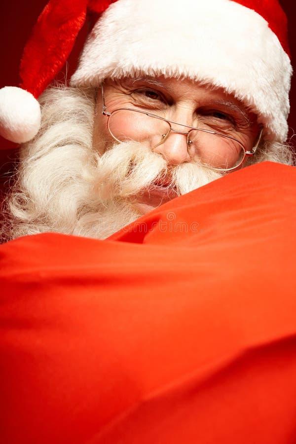 Lycklig jultomten royaltyfria foton