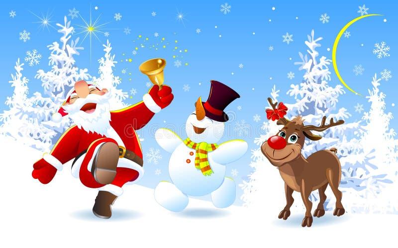 Lycklig jultomten, hjortar och snögubbe vektor illustrationer