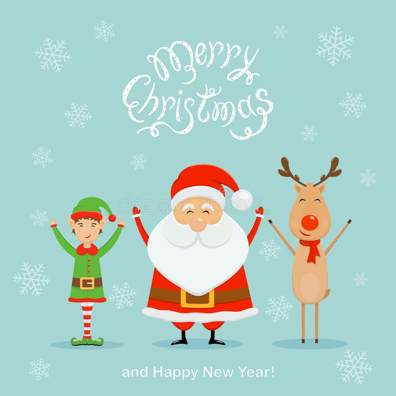 Lycklig jultomten med älvan och renen på en blå julbakgrund stock illustrationer