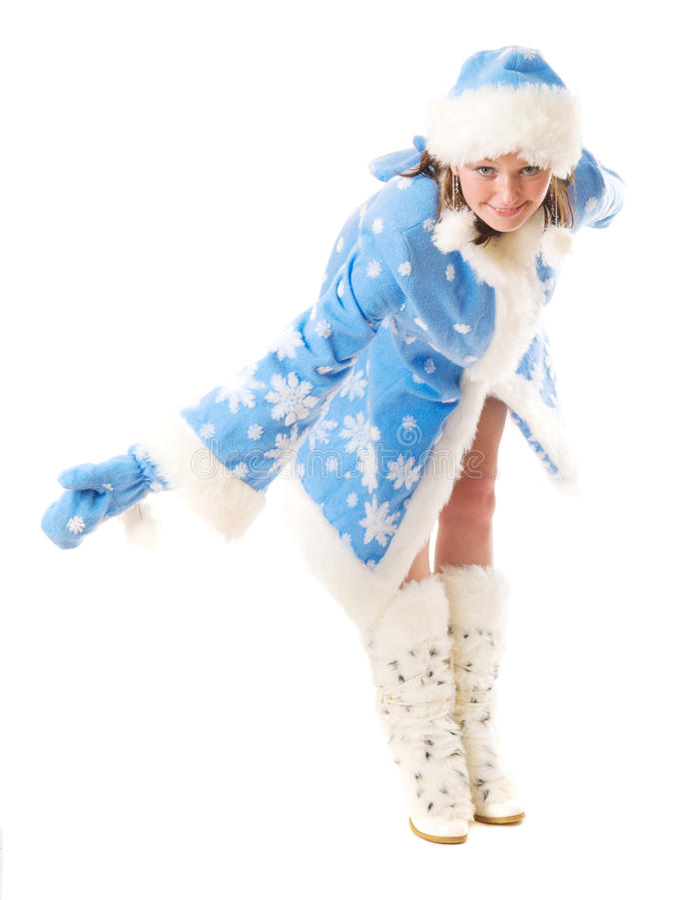 lycklig jungfru- snow royaltyfri fotografi