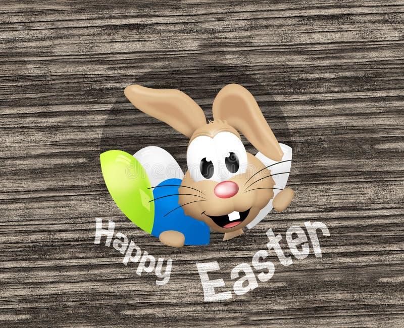 Lycklig känslig kanin för lycklig påsk vektor illustrationer