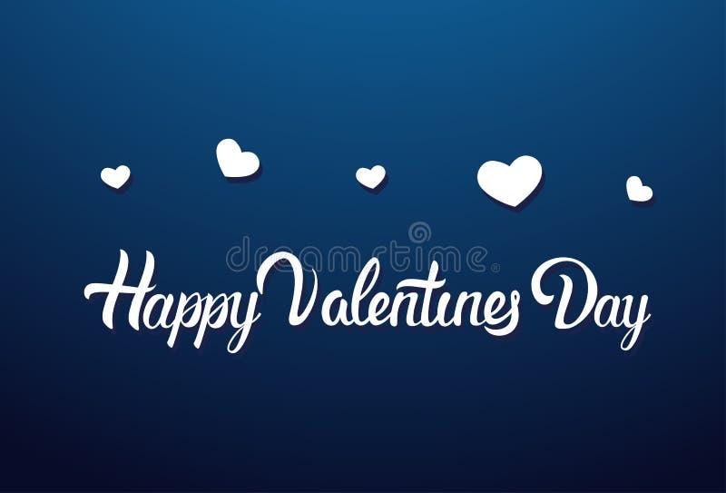 Lycklig kalligrafi för valentindagbokstäver på det blåa bakgrundshälsningkortet som dekoreras med vita hjärtor royaltyfri illustrationer
