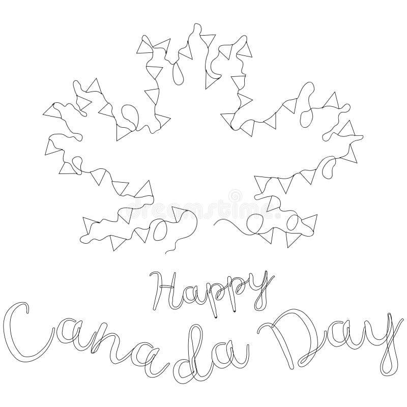 lycklig Kanada dag Svartvitt baner för nationell kanadensisk festmåltid Inskriften under tråden med flaggor i form av mor royaltyfri illustrationer