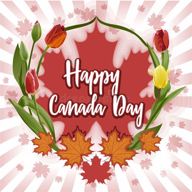 Lycklig Kanada dag - vykort, affisch eller baner Juli 1 stock illustrationer