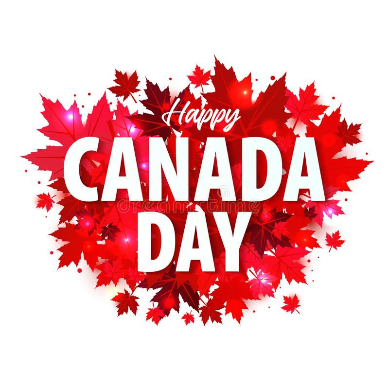 Lycklig Kanada dagaffisch 1st juli Illustrationhälsningkort med Kanada lönnlöv på vit bakgrund vektor illustrationer