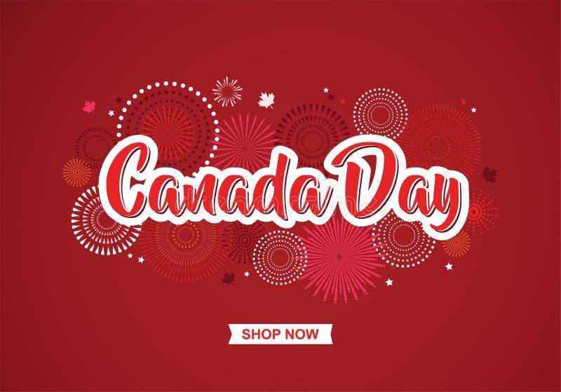 Lycklig Kanada dagaffisch 1st juli Kort för vektorillustrationhälsning Kanada lönnlöv på vit bakgrund stock illustrationer