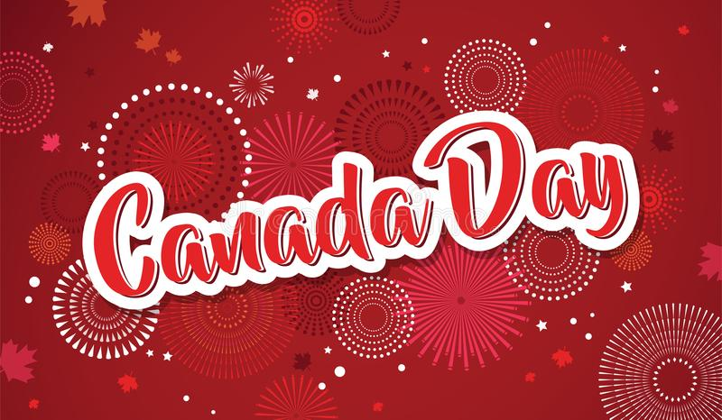 Lycklig Kanada dagaffisch 1st juli Kort för vektorillustrationhälsning Kanada lönnlöv på vit bakgrund royaltyfri illustrationer