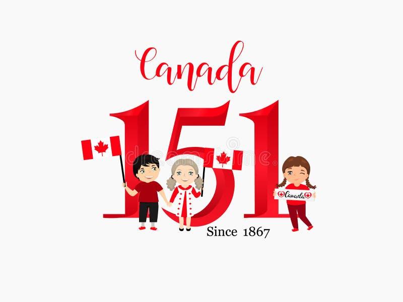 Lycklig Kanada dagaffisch 1st juli Kort för vektorillustrationhälsning med ramen Kanada lönnlöv på vit bakgrund royaltyfri illustrationer