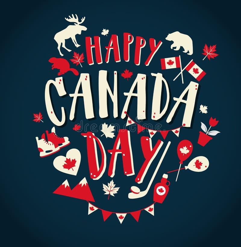 Lycklig Kanada dagillustration med plana symboler och hand dragen bokstäver vektor illustrationer