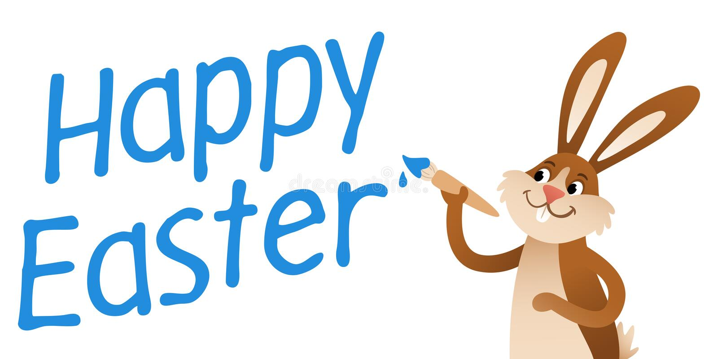 LYCKLIG kanin för PÅSKtecknad filmpåsk med målarfärgborsten, blå handstil vektor illustrationer