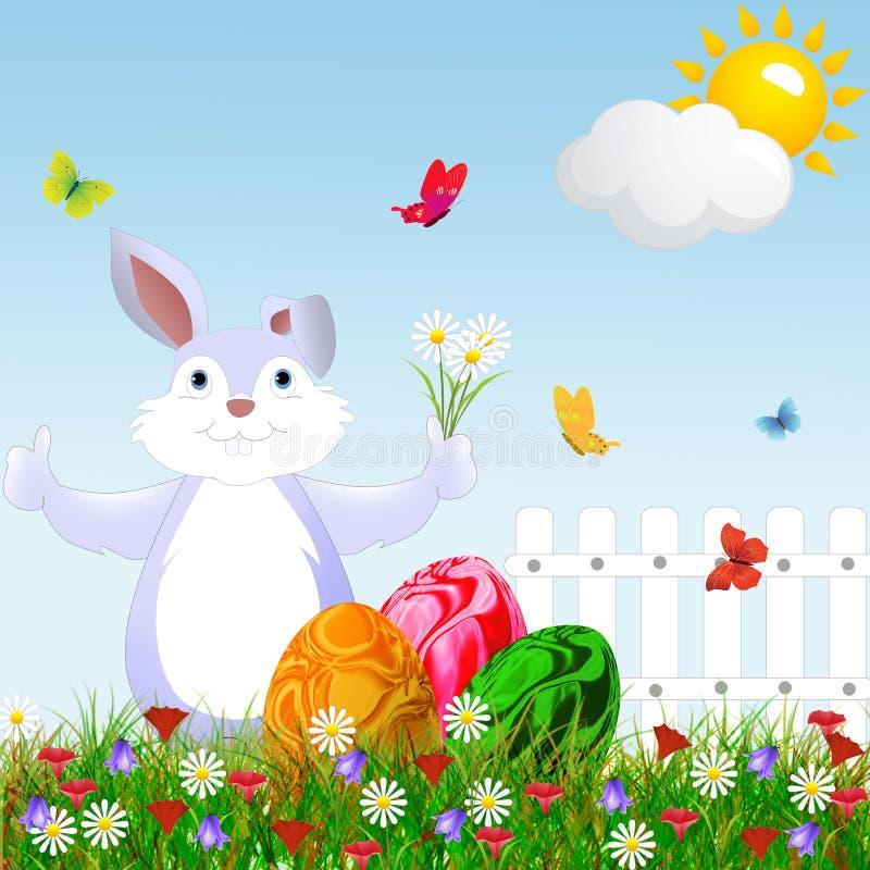 Lycklig kanin för tecknad film för påsk vektor illustrationer
