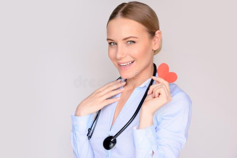 Lycklig kardiologdoktor arkivbild