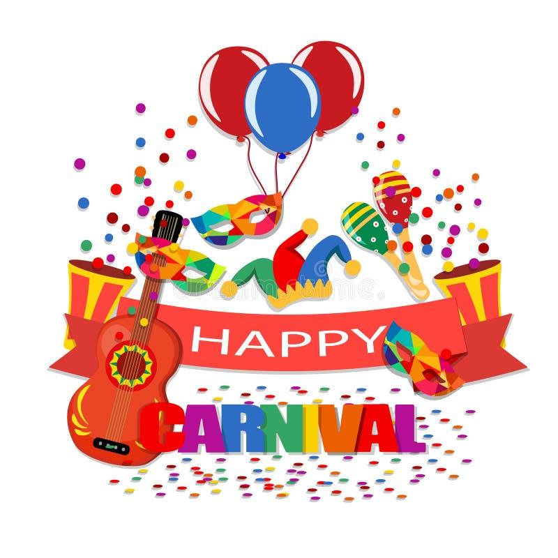 lycklig karneval Ett band med en inskrift, en gitarr, ett lock, konfetti, maskeringar, ballonger, maracas illustration vektor illustrationer
