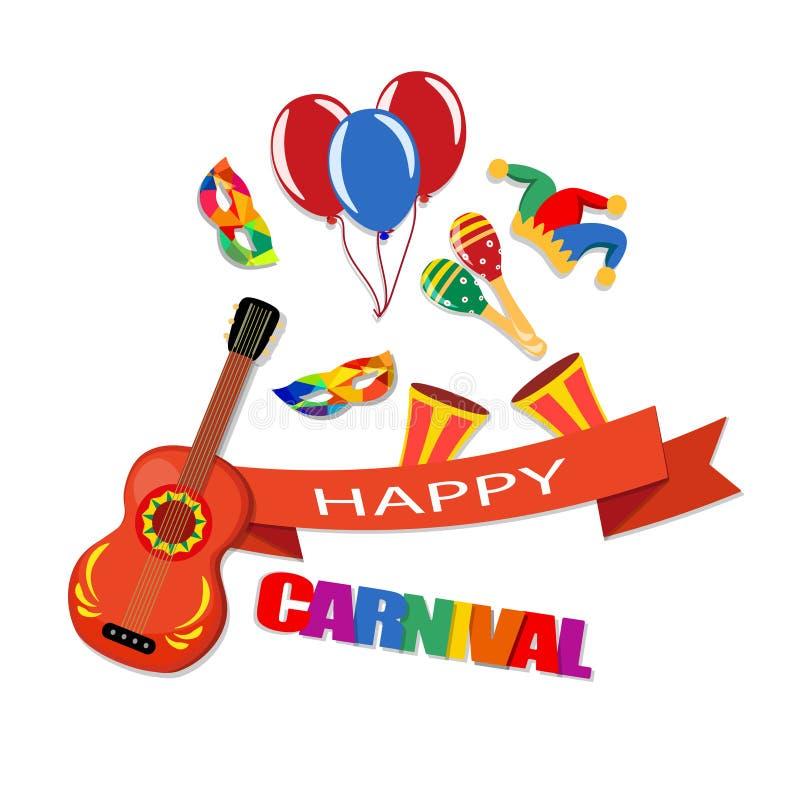 lycklig karneval Ett band med en inskrift, en gitarr, ett lock, maskeringar, ballonger, maracas, trummar illustration vektor illustrationer