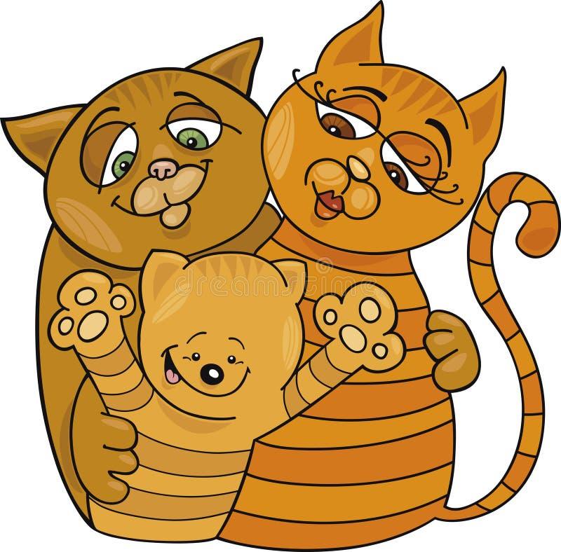 lycklig kattfamilj stock illustrationer