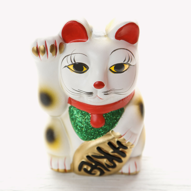 lycklig kattfigurinejapan arkivfoton