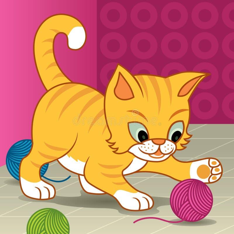 lycklig kattunge vektor illustrationer