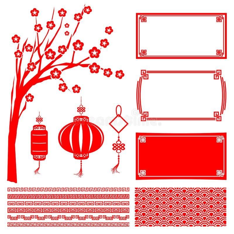 Lycklig kinesisk garneringbeståndsdel 2015 för nytt år för designvektor royaltyfri illustrationer