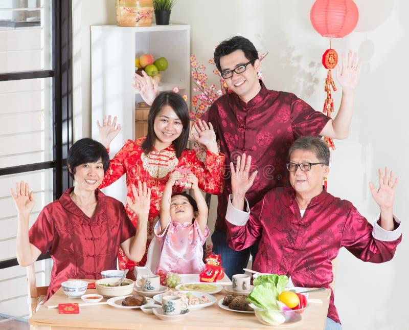 Lycklig kinesisk mötematställe för nytt år arkivbild