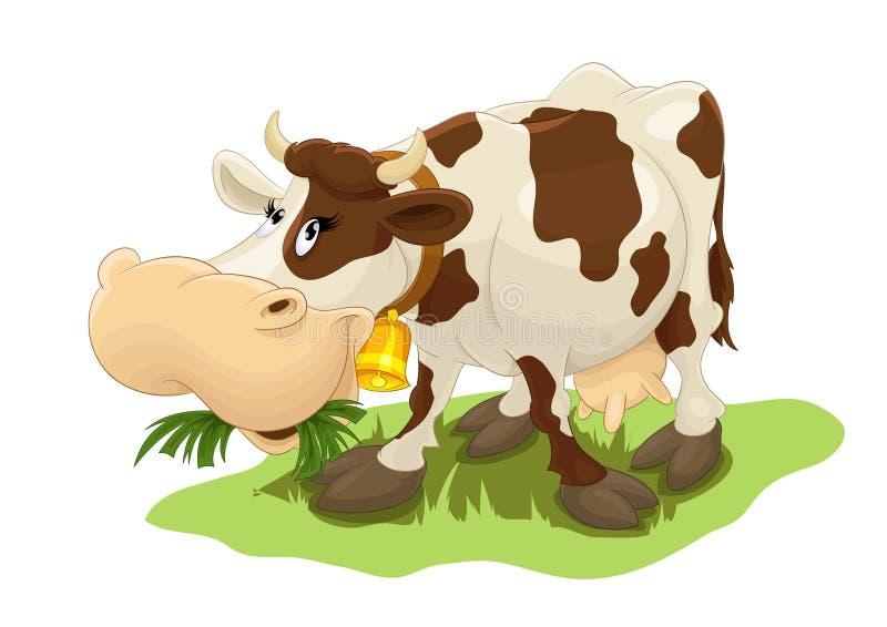 Lycklig ko som äter gräs royaltyfri fotografi