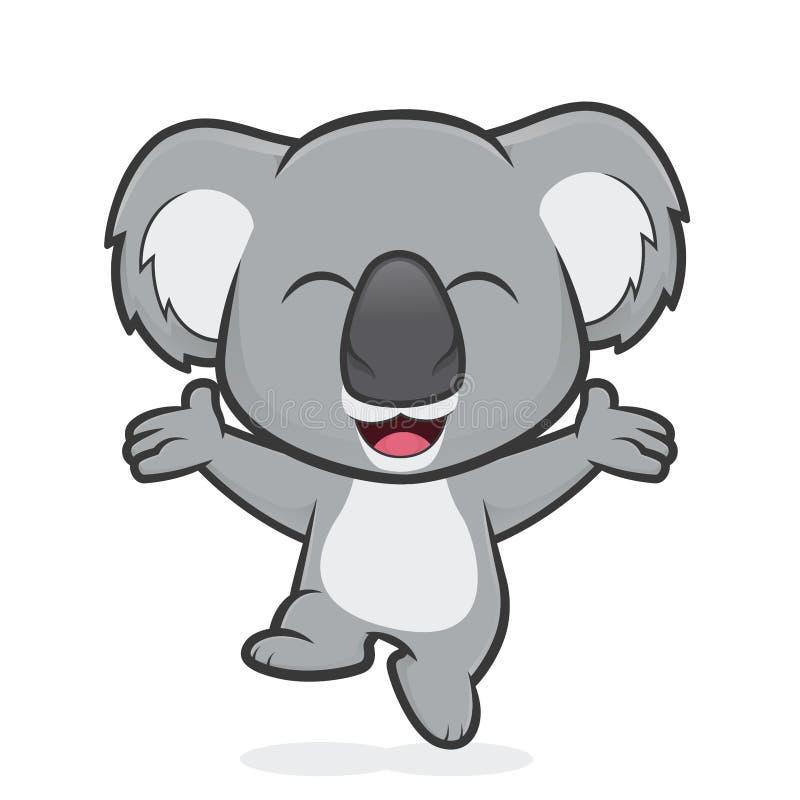 Lycklig koalabanhoppning royaltyfri illustrationer