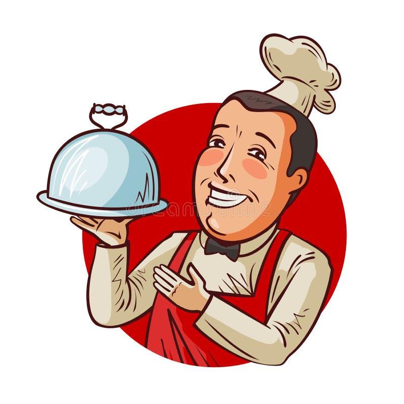 Lycklig kock med magasinet i hand Restaurang eatery, matbegrepp den främmande tecknad filmkatten flyr illustrationtakvektorn royaltyfri illustrationer