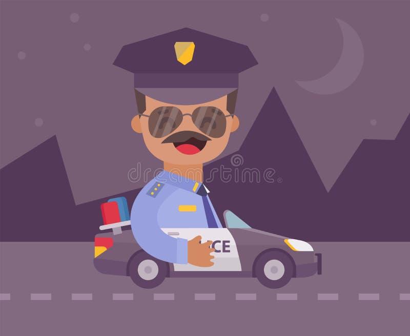 Lycklig komisk polis i en polisbil på natten Plan designtecknad filmstil också vektor för coreldrawillustration royaltyfri illustrationer