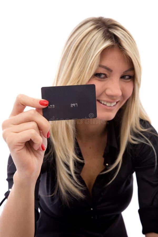 lycklig kortkreditering arkivfoto