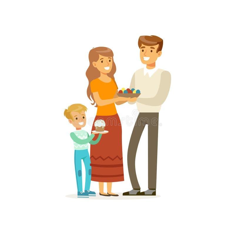 Lycklig kristen familjmoder, fader och liten son Folket som firar påsk, semestrar med traditionella matägg och royaltyfri illustrationer