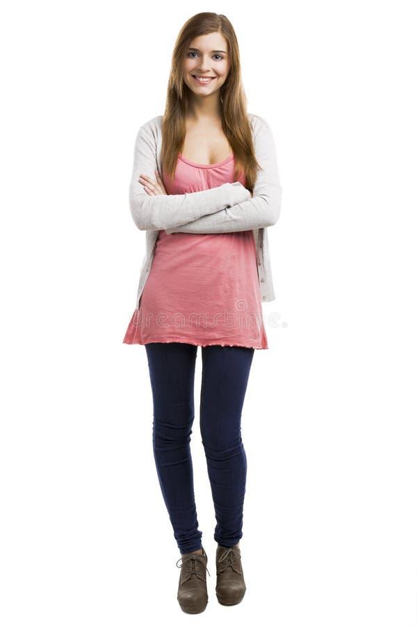 Download Lycklig kvinna arkivfoto. Bild av korsat, stående, stil - 37344848