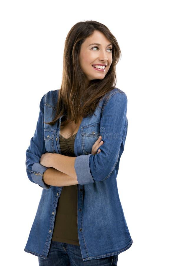 Download Lycklig kvinna fotografering för bildbyråer. Bild av modell - 37345879