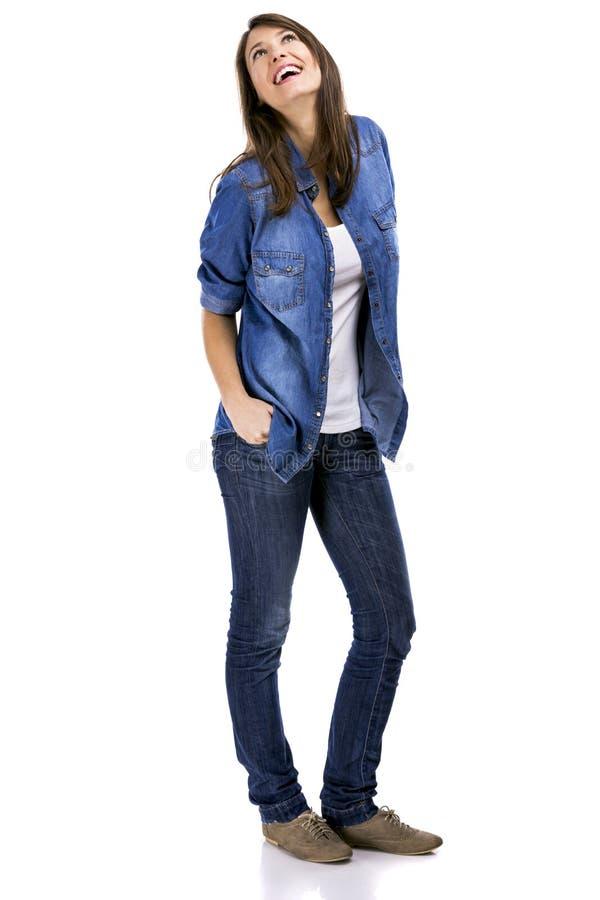 Download Lycklig kvinna fotografering för bildbyråer. Bild av vitt - 37345905