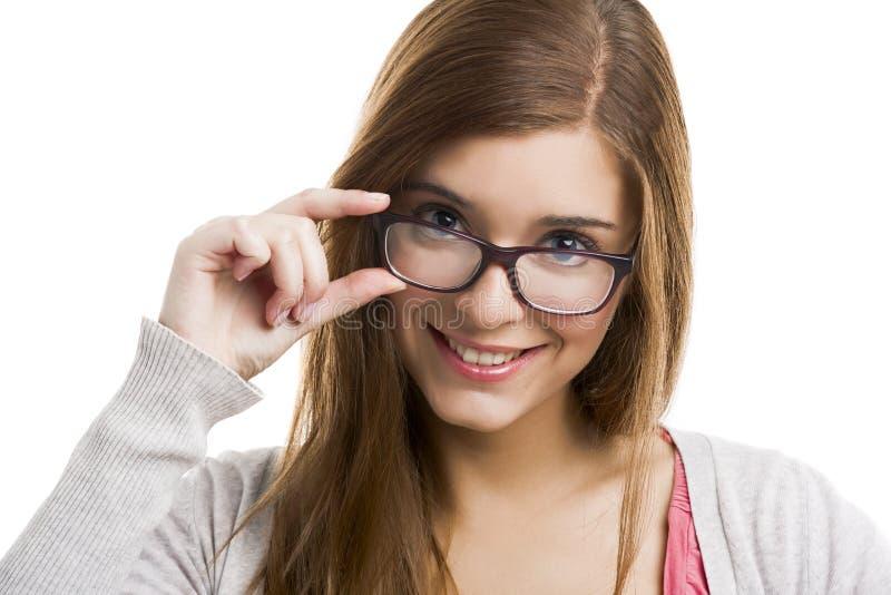 Download Lycklig kvinna fotografering för bildbyråer. Bild av smart - 37345999