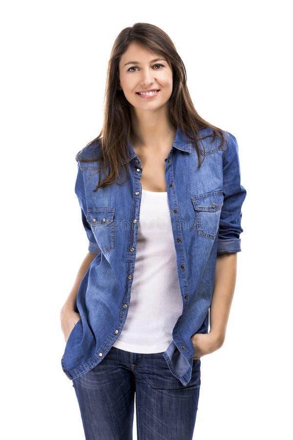 Download Lycklig kvinna arkivfoto. Bild av händer, modell, lycka - 37348076