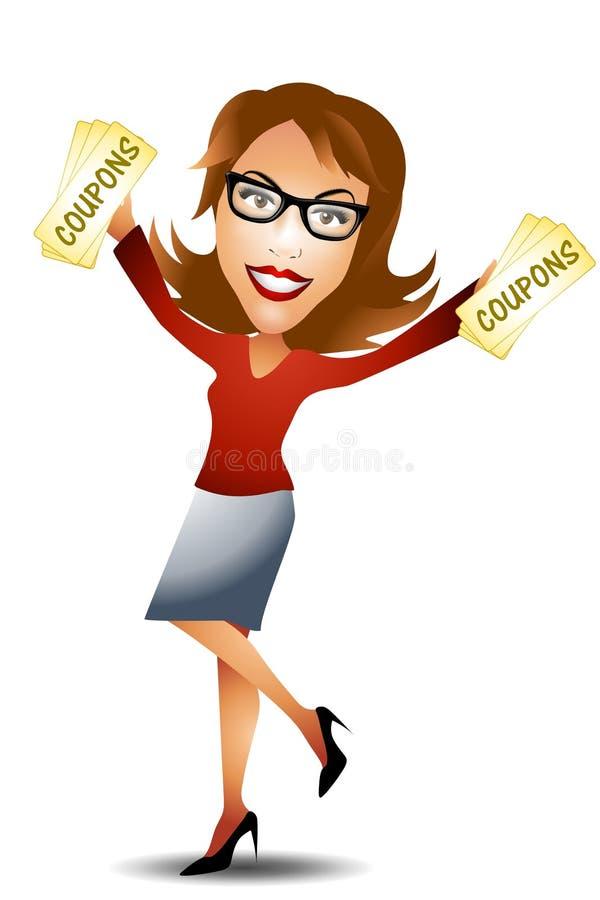 lycklig kvinna för kuponger vektor illustrationer