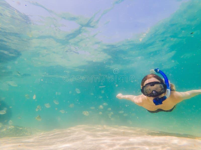 Lycklig kvinna, i att snorkla maskeringsdyken som är undervattens- med tropiska fiskar i pöl för hav för korallrev Lopplivsstil,  royaltyfria foton
